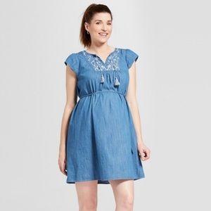 ISABEL Maternity Embroidered Cotton Denim Dress